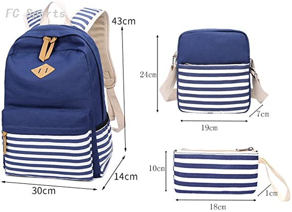Casual Canvas Stripe Backpack Cute school bags for teenagers