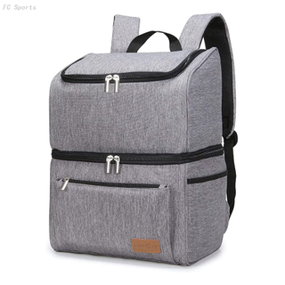 18L 32-Can Double Decker Insulated Cooler Bag Backpack for Beach/Picnic/Camping/BBQ, Grey