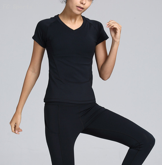 Yoga wear women's short-sleeved shirt sports T-shirt fitness clothes