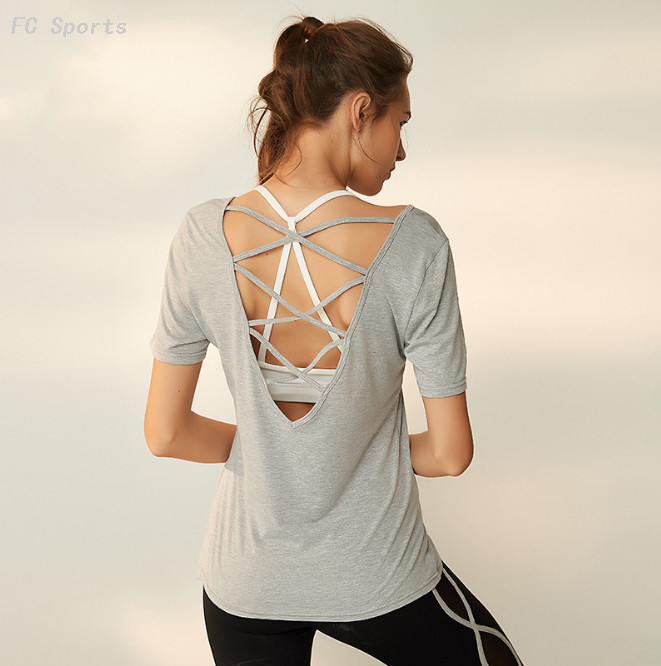 Yoga wear new modal sportswear female summer fitness yoga shirt vest quick dry t-shirt