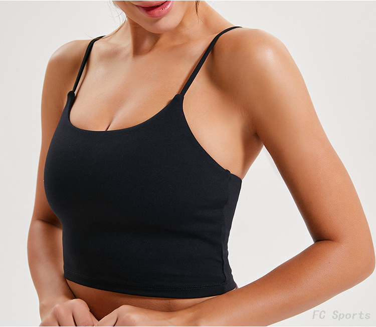 FC Sports Yoga Vest Women With Chest Pad Sexy Thin Belt Beauty Back Yoga Shirt Half Sling Wholesale