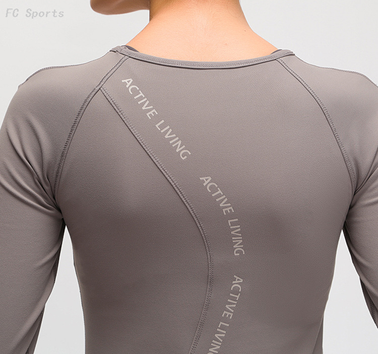 FC Sports New Sanding Nude Yoga Clothing Professional Elastic Quick-drying Fitness Shirt Chest Pad Letter Long-sleeved T-shirt Female