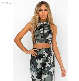 Camouflage printed yoga fitness suit moisture wicking yoga clothes ladies fitness suit