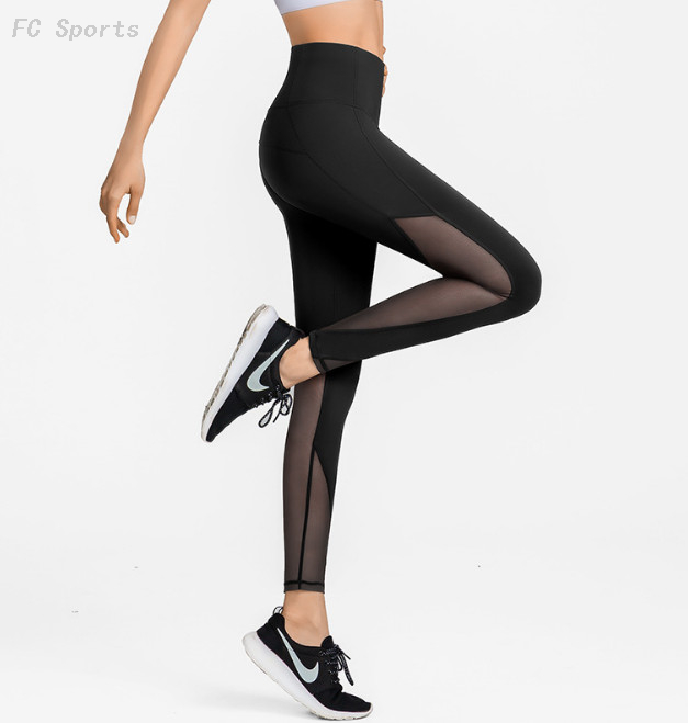 Tight and seamless fitness wear women's mesh sports running yoga pants
