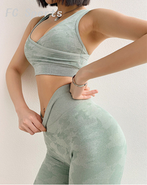 Women Yoga Set Fitness for Woman Tracksuit Ruffles Sport Suit Sexy Sportswear Gym Wear Running Clothing Tank Top Leggings