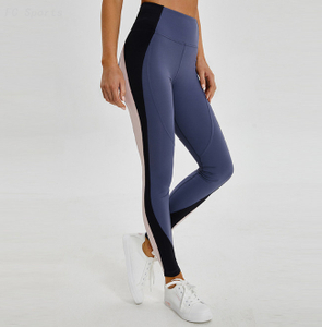 Fitness pants female stitching contrast color stretch tight running sports yoga trousers