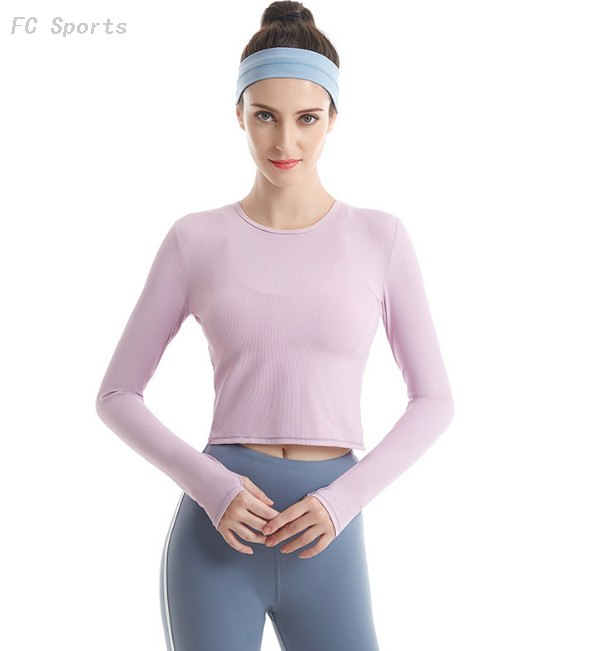 Fitness wear women's sports running yoga tops quick-drying breathable long-sleeved T-shirt