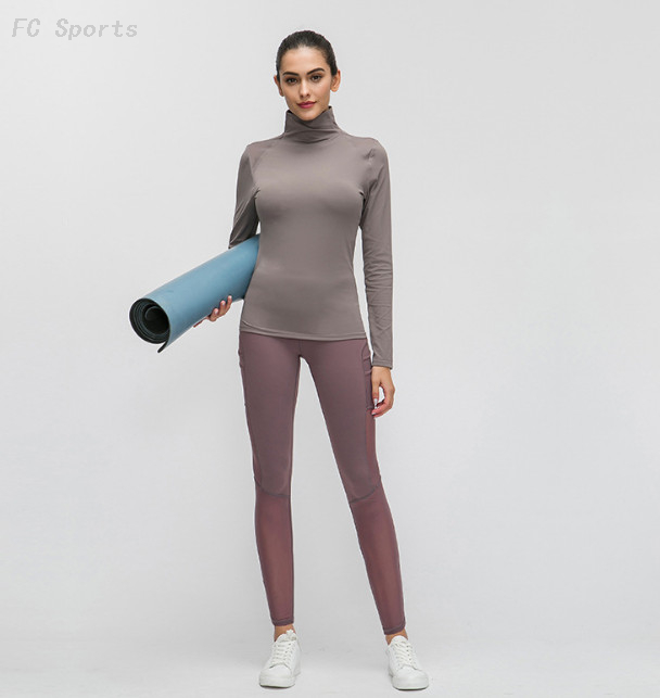 High collar long sleeve yoga wear solid color mesh stitching running sports yoga top